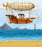 A boy and a girl riding an airship Stock Image