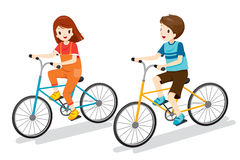 Boy And Girl Riding Bicycle Royalty Free Stock Image