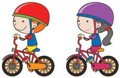 Boy and girl riding bicycle. Illustration Stock Photography