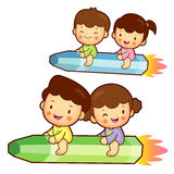 Boy and girl is riding a big crayon. Education and life Characte Royalty Free Stock Photo