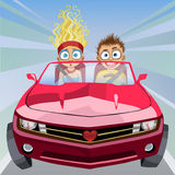 Boy and girl riding in a car at high speed Royalty Free Stock Image