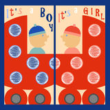 It is a boy It is a girl. Boy and girl riding in a red wheelchair. Labels It is a boy. It is a girl Stock Illustration