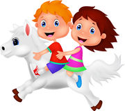Boy and girl riding a white horse. Illustration of Boy and girl riding a white horse Royalty Free Stock Photography