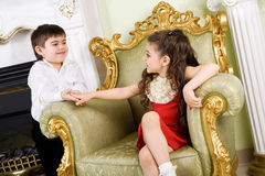 Boy and girl in the room Royalty Free Stock Photo