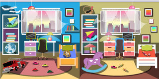 Boy and girl room set Royalty Free Stock Photography
