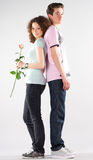 Boy girl and rose Royalty Free Stock Image