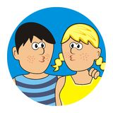 Boy and girl. In round frame. Blue background. Circle frame. Vector icon Stock Images