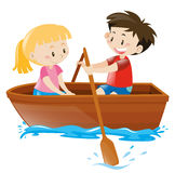 Boy and girl in rowboat. Illustration Stock Photo