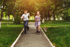 Boy and girl run in a park with a puppy dog. Royalty Free Stock Images