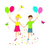 Boy and girl running with balloons in hands Royalty Free Stock Photo