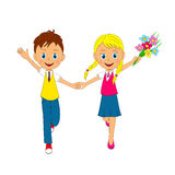 Boy and girl running. With flower, illustration, vector Royalty Free Stock Photos