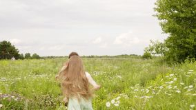 Boy and girl running on green field in summer village. Little brother and sister running on flowering meadow. Happy. Children spending summer vacation in stock video footage