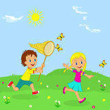 Boy and girl  running through a meadow. On a background of blue sky, illustration, vector Royalty Free Stock Photos