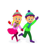 Boy and girl running and smiling Stock Images