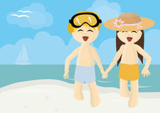 Boy and girl running on summer beach Royalty Free Stock Images