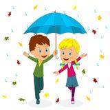 Boy and girl running under umbrella. Kids,boy and girl running under umbrella,illustration,vector Royalty Free Stock Photos