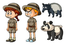 Boy and girl in safari clothes with panda and tapir Stock Images