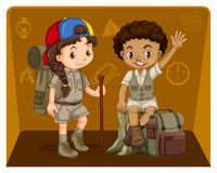 Boy and girl in safari outfit Royalty Free Stock Photos