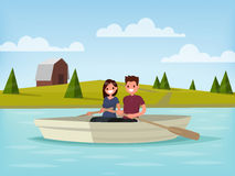 Boy and girl are sailing on a boat. Young couple is  relaxing on. The lake. Vector illustration of a flat design Stock Image