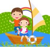 Boy and girl sailing on lake. Illustration art Stock Photography