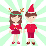 Boy and Girl in Santa claus costume. Cartoon illustration Stock Illustration