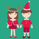 Boy and Girl in Santa claus costume. Cartoon illustration Royalty Free Illustration