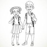 Boy and girl with a school bag holding hands line drawing Royalty Free Stock Image