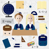 Boy and girl in school. education design.  illustration Royalty Free Stock Photos