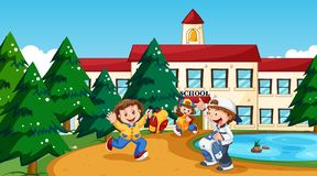 Boy and girl at school. Illustration vector illustration