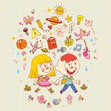 Boy and girl school learning education illustration Stock Image
