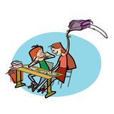Boy and girl in school pranks Royalty Free Stock Photos