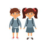 Boy and girl in school uniform. Vector cartoon style school characters: Caucasian boy and girl in school uniform. Isolated on white background Stock Images