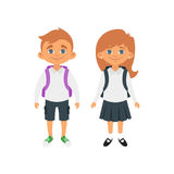 Boy and girl in school uniform. Vector cartoon style school characters: blond hair boy and girl in school uniform. Isolated on white background Royalty Free Stock Photos