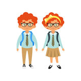 Boy and girl in school uniform. Vector cartoon style school characters: red hair boy and girl in school uniform. Isolated on white background Royalty Free Stock Images