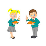 Boy and girl,schoolkids with a book Royalty Free Stock Photos