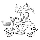 Boy and girl on a scooter. Joyful young couple is going somewhere on an old-fashioned scooter with luggage basket. Maybe they just got married, and travel during stock illustration
