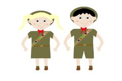 Boy and Girl Scouts. Illustrated boy and girl scout in unitorm with merit badge sash and hat on white Royalty Free Stock Images