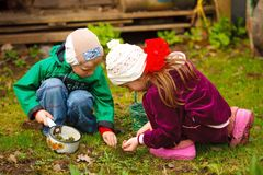 Boy and girl searching insects and worms Royalty Free Stock Image