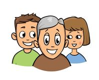 Boy, girl and senior man. Taking care of elderly persons icon. Flat vector illustration. Isolated on white background. royalty free illustration