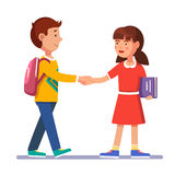 Boy and girl shaking hands making peace Royalty Free Stock Photos