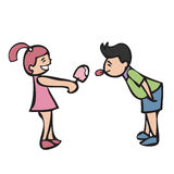 Boy and girl share icecream Royalty Free Stock Images