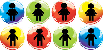 Boy and girl signs Stock Image