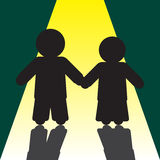 Boy and girl silhouettes with shadows Stock Image