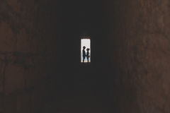 Boy and girl silhouettes Royalty Free Stock Photo