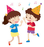 Boy and girl singing at party Stock Image
