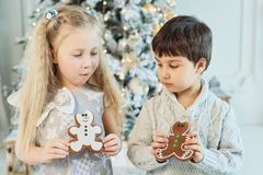 Boy and girl sit on floor under Christmas tree. children eat ginger man. Waiting for Christmas. Celebration. New Year. Children ea stock image