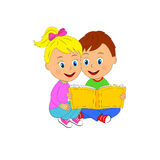 Boy and girl sit and read book Stock Photo
