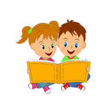 Boy and girl sit and read book Royalty Free Stock Images