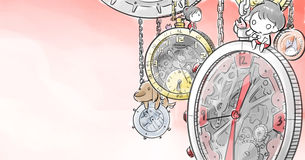 Boy and girl siting on big clock. Illustration of Small Umbrella in jpg file Stock Images