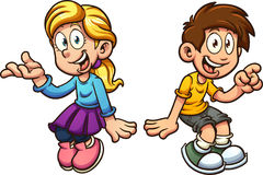 Boy and girl sitting stock illustration